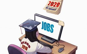 Youth unemployment: Illustration of a student looking for jobs online