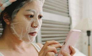 Photo of a woman wearing a facial mask