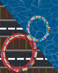 Illustration of an infinity loop, a metaphor for China's new dual circulation economic policy