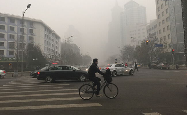 a smoggy morning in Beijing