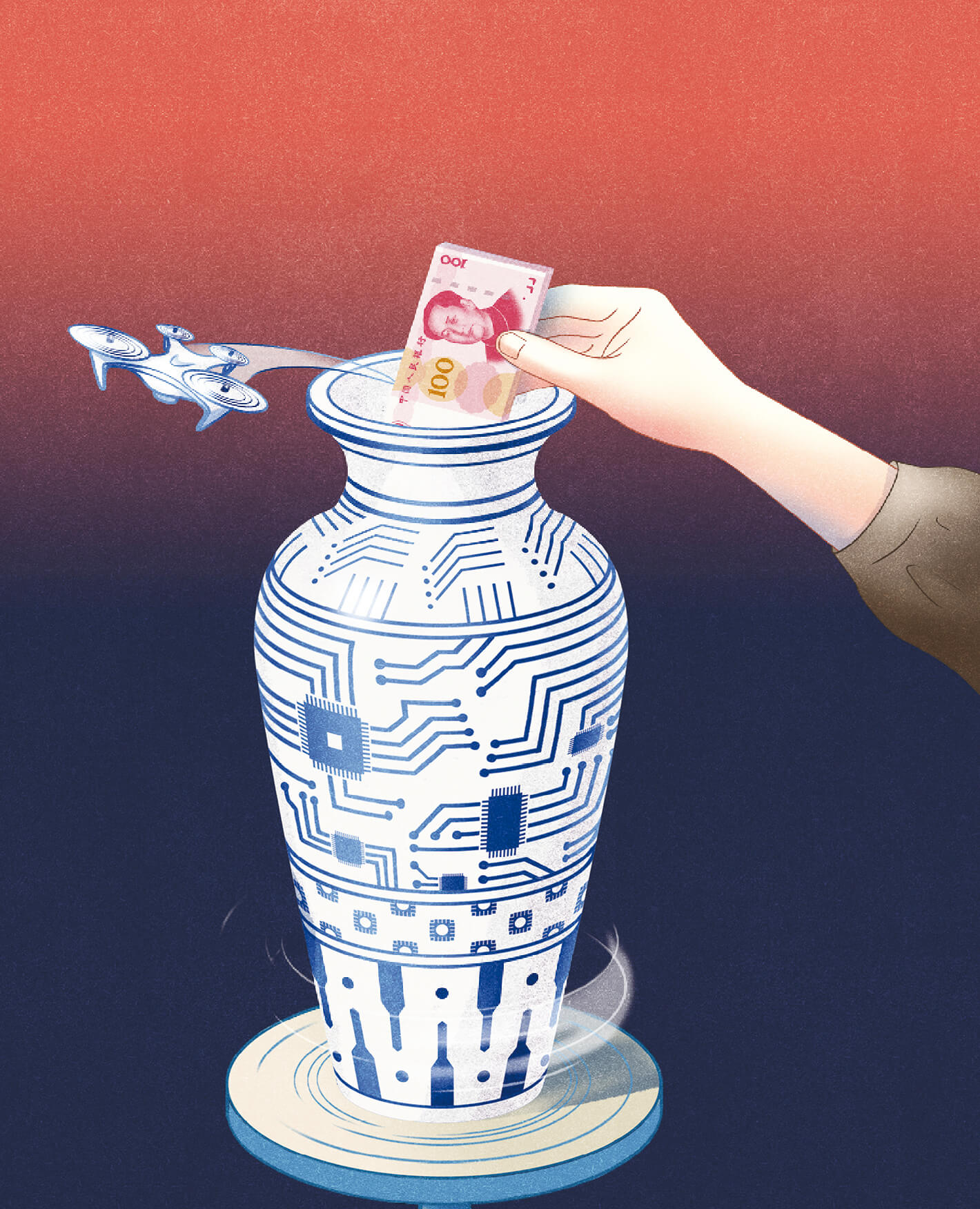illustration of money being put into a Chinese vase